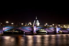 London Tourism. St Paul's Cathedral on Thames River London Stock Photos