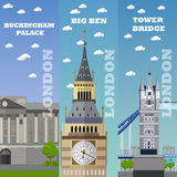 London tourist landmark banners. Vector illustration with England famous buildings. London tourist landmark banners. Vector illustration with London famous Royalty Free Stock Photography