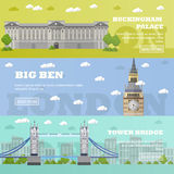 London tourist landmark banners. Vector illustration with famous buildings. Tower bridge, Big Ben and Buckingham Palace royalty free illustration