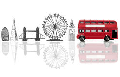 London tourist landmarks. London landmarks sketched against a double decker bus stock image