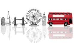 London tourist landmarks. London landmarks sketched against a double decker bus Stock Image