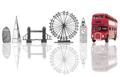 London tourist landmarks. London landmarks sketched next to a double decker bus Stock Image