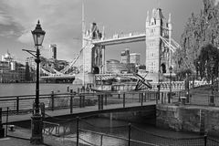 London - The Tower Bride and entry in St. Katharine docks in morning light Stock Photos