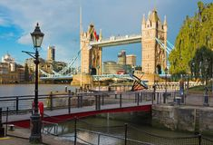 London - The Tower Bride and entry in St. Katharine docks in morning light Royalty Free Stock Image