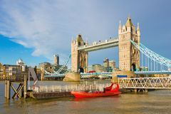 London - The Tower Bride and Katharine pier in morning dusk Stock Image