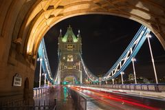 London - The Tower Bride at night stock photos