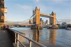 London - The Tower Bride, promenade and skyscrapers in morning light Stock Photography