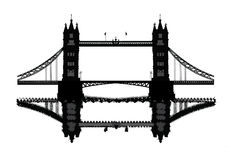 London Tower Bridge. Vector silhouettes on London Tower Bridge. The illustation is available in eps Royalty Free Stock Image