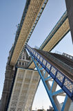 London Tower Bridge. Is opened, low angle view Stock Photo