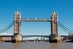 London Tower Bridge. Over the river Thames - close front view stock image