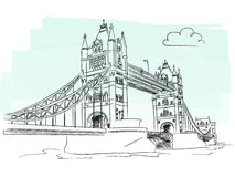 London tower bridge vector. Illustration of Tower Bridge in London, isolated + vector eps file Stock Images