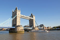 London Tower Bridge. The London Tower Bridge and modern cruise ship Royalty Free Stock Photos