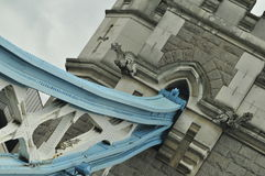 London Tower Bridge artistic angle. With gargoyles and blue steel Royalty Free Stock Images