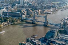 London Tower bridge and city hall from the shard. Showing the river Thames and st katherines dock royalty free stock image