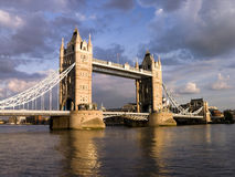 London Tower Bridge by cloudy day stock image