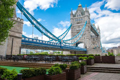 London tower bridge on a cloudy day. Historical tower bridge on a cloudy day Stock Photos