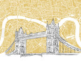 London Tower Bridge with Colored Map Stock Image