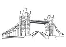 London Tower Bridge drawing Royalty Free Stock Photography