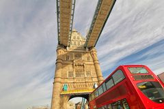London Tower Bridge and famous red bus Stock Photo
