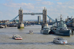 London Tower Bridge. And HMS Belfast on October 03, 2014 in London, UK. London is one of the world's leading tourism destinations Stock Photo