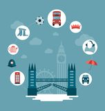 London Tower Bridge and icons Stock Image