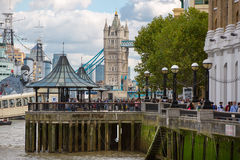 LONDON, Tower bridge and lots of walking people on south bank Royalty Free Stock Photography