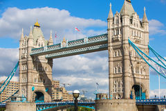 LONDON, Tower bridge and lots of walking people on south bank Stock Photo