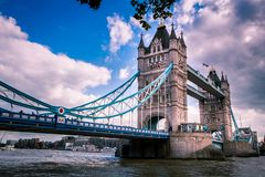 London Tower Bridge view with the Thames on a sunny day stock image