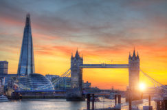 London tower Bridge with modern skyscrapers in sunset light Royalty Free Stock Photo