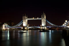 London Tower Bridge at night. With plenty of lights Royalty Free Stock Photography
