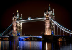 London tower bridge at night. Long exposure Stock Image