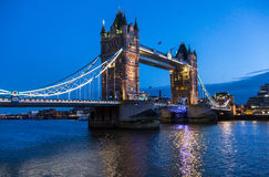 London Tower Bridge night scene Stock Photo