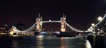London Tower bridge at night from South bank. Wide format, with lights and some people watching Royalty Free Stock Photography
