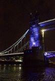 London Tower bridge at night. LONDON, UNITED KINGDOM - SEPTEMBER 11 2015: Architectural close up of London Tower bridge at night by the river Thames, lighted in Stock Photography