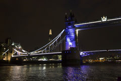 London Tower bridge at night. LONDON, UNITED KINGDOM - SEPTEMBER 11 2015: London Tower bridge at night by the river Thames, lighted in Blue Stock Image