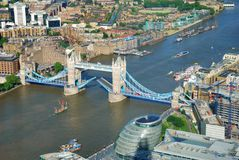 London Tower Bridge raised in view from above Royalty Free Stock Image