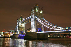 London Tower Bridge illuminated at night. London Tower Bridge seen illuminated at night Royalty Free Stock Photo