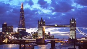 London Tower Bridge and Shard at sunset and colorful dusk sky stock video footage
