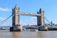 London Tower Bridge in Summer. View of the famous Tower Bridge is London, England taken on a sunny summer day royalty free stock photos