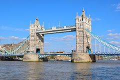 London Tower Bridge in Summer. View of the famous Tower Bridge is London, England taken on a sunny summer day royalty free stock photography