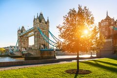 The london Tower bridge at sunrise. On a sunny summer day - shot against blue clear sky into the shining sun stock photos