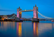 London Tower Bridge sunset on Thames river Royalty Free Stock Photo