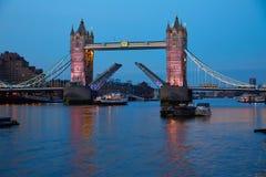 London Tower Bridge sunset on Thames river Stock Photos