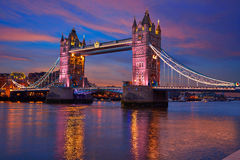 London Tower Bridge sunset on Thames river Stock Image
