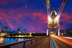 London Tower Bridge sunset on Thames river Royalty Free Stock Images