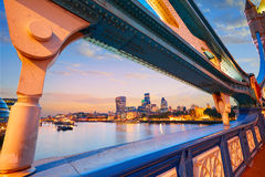 London Tower Bridge sunset on Thames river Stock Images