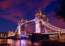 London Tower Bridge sunset on Thames river Royalty Free Stock Image