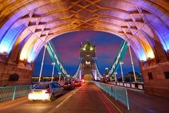 London Tower Bridge sunset on Thames river Stock Photo