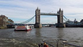 London Tower Bridge taken from Thames ferry Stock Image