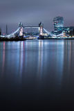 London. Tower Bridge Thames River  Capital of England  water reflections old architecture  Europe Stock Photography